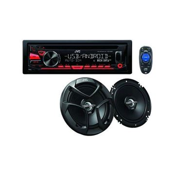 "Picture of JVC PKDR780BT with a pair of 6.5"" speakers (KD-PKR780BT) Single DIN Bluetooth In-Dash CD Car Stereo with w/ a Pair of CS-J620 Speakers"