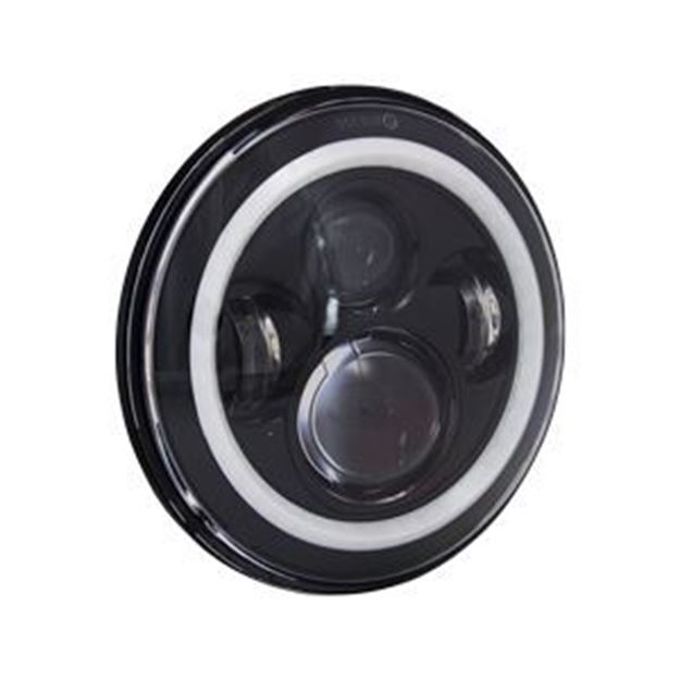 "Picture of Heise 7"" - Round 4 LED with Halo Black Front Face"